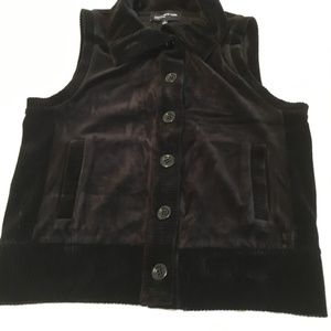 Jones New York Black Button Front Vest